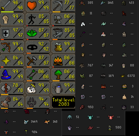 These are all my skills at the time of starting, plus all my 'boss kc' scores from the highscore board.